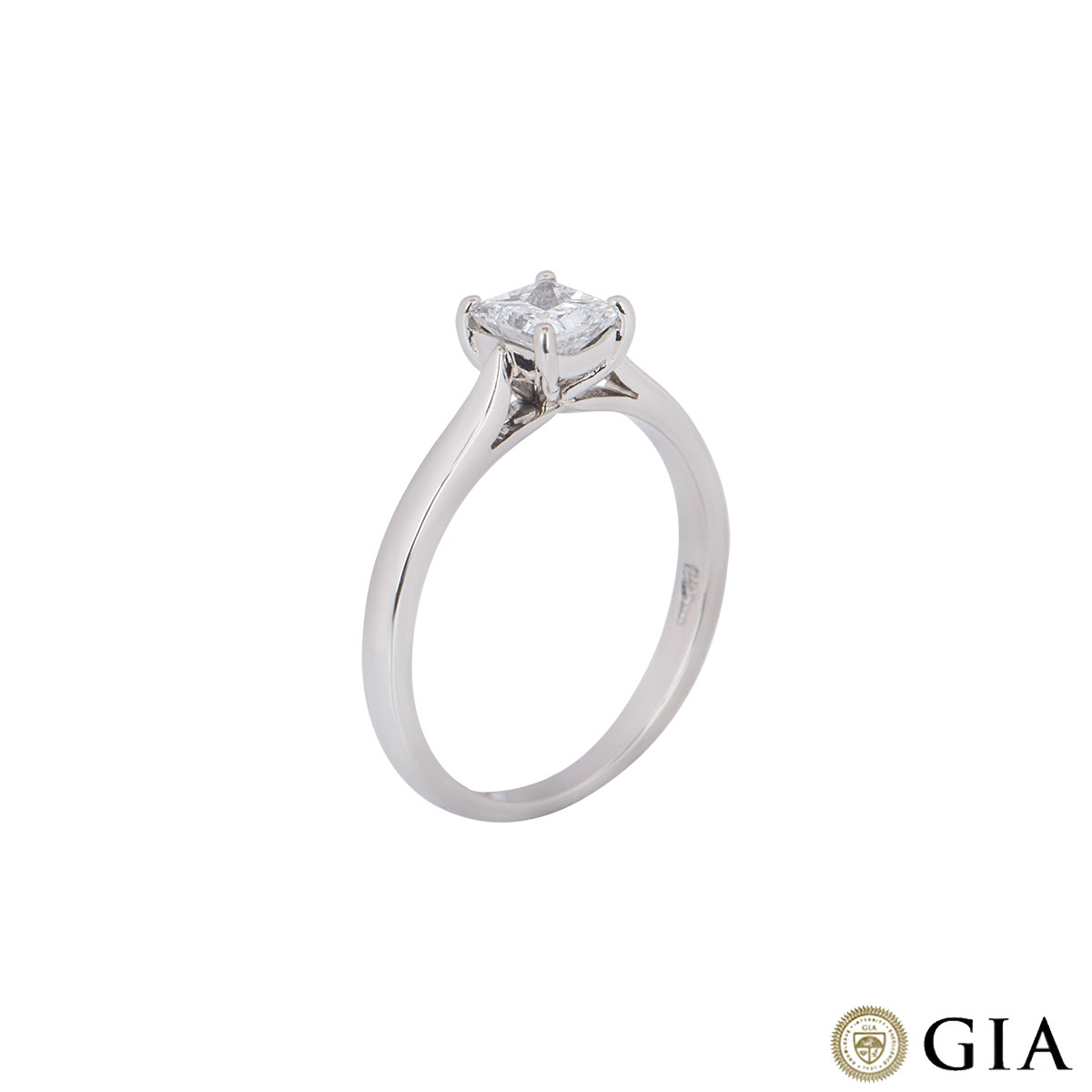 Platinum Princess Cut Diamond Ring 0.56ct D/SI2